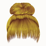 Bun  hairs with fringe bright yellow colors . women fashion beau Royalty Free Stock Photos