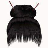 Bun  hairs with fringe  dark brunette  . women fashion  style . Royalty Free Stock Photo