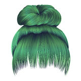 Bun  hairs with fringe green colors  women fashion beauty style Royalty Free Stock Images