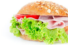 Bun with ham Stock Image