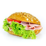 Bun with ham Stock Photography