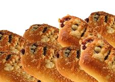 Bun with jam and crumble. Royalty Free Stock Images
