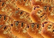 Bun with jam and crumble. Stock Images