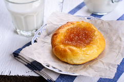 Bun with jam Stock Photo