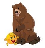 Bun kolobok and bear. Isolated on white background Stock Image