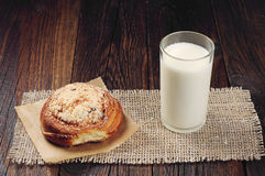 Bun and milk Stock Photography