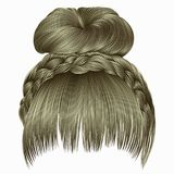 Bun with plait and fringe. hairs blond light colors . women fash. Bun with plait and fringe Royalty Free Stock Photography