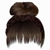 Bun with plait and fringe. hairs brown light colors . women fash. Bun with plait and fringe Stock Photos