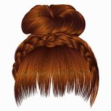 Bun with plait and fringe. hairs Ginger colors . women fashion b. Bun with plait and fringe Stock Photography
