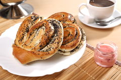 Bun with poppy seeds. Russian pastries Stock Photos