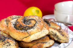 Bun with poppy seeds for tea Royalty Free Stock Images