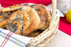 Bun with poppy seeds for tea Royalty Free Stock Image