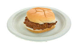 Bun pork and barbecue sauce sandwich on paper plate Stock Image