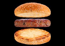 Bun and pork rissole ingredient hamburger Stock Images