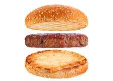 Bun and pork rissole ingredient hamburger Royalty Free Stock Image