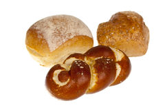 Bun and Pretzel,isolated on white Stock Photos
