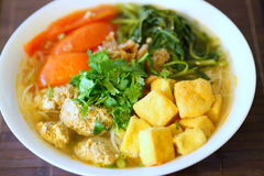 Bun Rieu or Vietnamese vermicelli noodle soup with milled crab m Stock Photo
