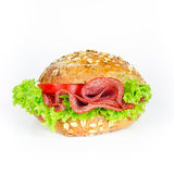 Bun with salami Royalty Free Stock Photography