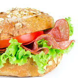 Bun with salami Stock Photography