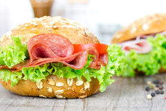 Bun with salami Royalty Free Stock Image