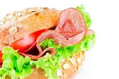 Bun with salami. Close up stock photography