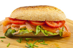 Bun with salmon Royalty Free Stock Images