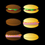 Bun sandwich. On a black background. Illyuchtration eps 10 . Use for the press, the websites, an undershirt, t-shirt, regis vector illustration