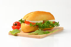 Bun Sandwich With Cheese And Vegetables Stock Photo