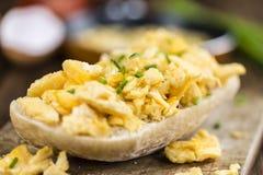 Bun with Scrambled Eggs (close-up shot) Stock Images