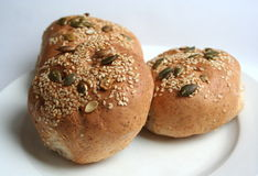 Bun with sesame. Three bun with sesame and tich Royalty Free Stock Photo