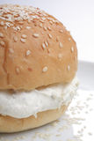 Bun with sesame and fresh cottage cheese Royalty Free Stock Photo