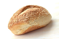 Bun with sesame seeds macro Stock Image