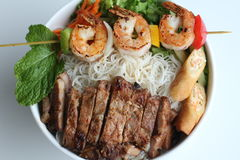 Bun Thit Nuong Or Grilled Shrimp, Beef, Spring Rolls Vermicelli Stock Photography