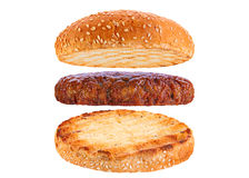 Bun and veal rissole ingredient hamburger Royalty Free Stock Photography