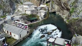 Buna spring. Vrelo Bune is the natural and architectural ensemble at the Buna river spring near Blagaj kasaba village-town and a part of the wider `Townscape Royalty Free Stock Photos