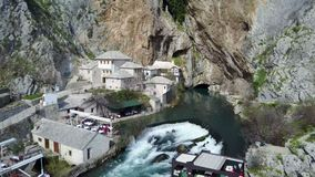 Buna spring. Vrelo Bune is the natural and architectural ensemble at the Buna river spring near Blagaj kasaba village-town and a part of the wider `Townscape Stock Image