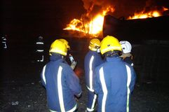 Buncefeld Fuel depot fire Stock Photography
