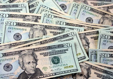 Bunch of 20 dollar bills Royalty Free Stock Images