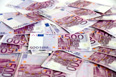 Bunch of 500 euro banknotes (messy). Messy bunch of 500 euro banknotes (European Union Royalty Free Stock Image