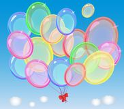 A bunch of air balloons in the sky Royalty Free Stock Photography