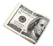 Isolated Folded100 USD Notes Royalty Free Stock Photos