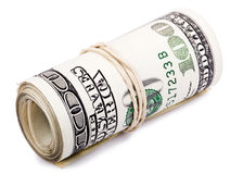Roll of 100 US$ Bills Stock Photo