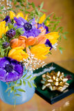 Bunch of anemones and tulips Stock Photos