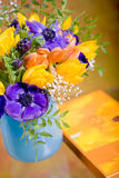 Bunch of anemones and tulips Stock Photo