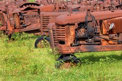 Bunch of Antique Tractors Royalty Free Stock Images