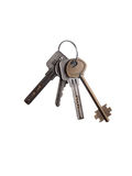 Bunch of apartment keys isolated on white Stock Images
