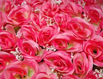 Bunch of artificial pink roses Stock Images