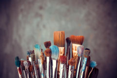 Bunch of artist paintbrushes royalty free stock image