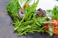 Bunch of arugula for salad. Bunch of fresh arugula and vegetables for salad on a dark background copy space royalty free stock photo