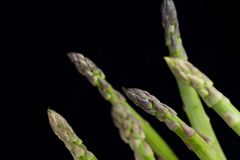 Bunch of asparagus on dark table. Organic, vegetarian and healthy food concept. Closeup. Copy space. Top view Stock Photography